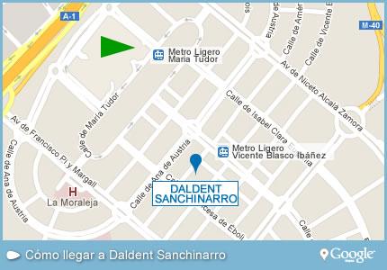 Como llegar a Daldent Sanchinarro. Pulsar sobre la imagen para ver la ruta de como llegar hasta Daldent Sanchinarro.