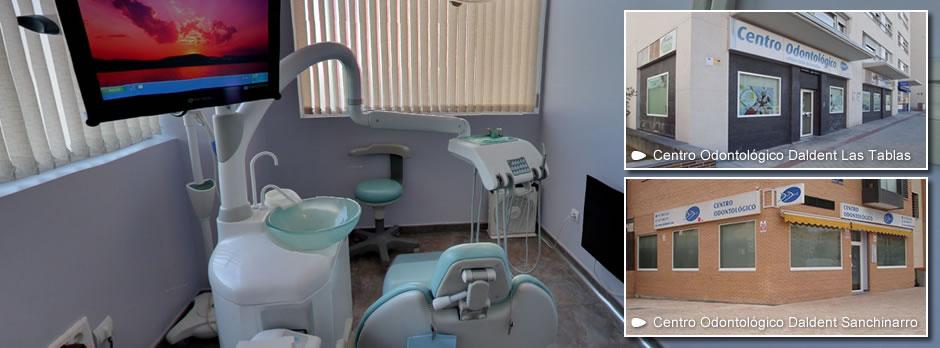 Si buscas un dentista en Sanchinarro o Las Tablas, ven a vernos. En los 2 Centros Odontológicos Daldent todos los facultativos somos odontólogos especializados. Encontrará un trato personalizado y de calidad basado en la solidez de criterios profesionales y con la tecnología más avanzada. Profesionales con un elevado sentido de la ética médica y con una formación específica en cada especialidad que le ofrecerán un correcto diagnóstico y el mejor tratamiento en beneficio de su salud buco-dental. Cada paciente y cada caso es único y por ello nos esforzamos en dar una explicación pormenorizada de las distintas alternativas posibles para resolver cada situación.